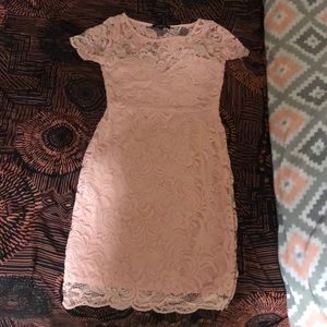 Baby pink fitted lace dress